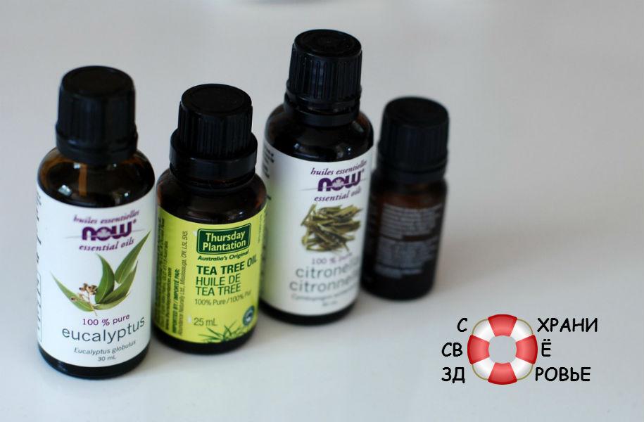 Эфирные масла лимонной травы, чайного дерева, эвкалипта